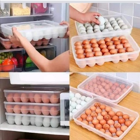 34 Pieces Eggs Tray Holder With A Lid