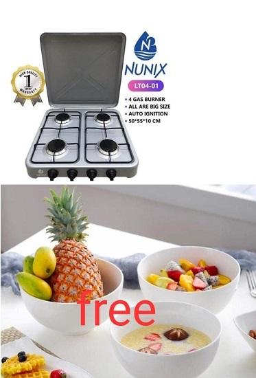 4 Burner Gas Stove Table Top & 3 Free Bowls