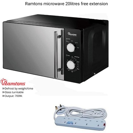 20 LITERS MANUAL MICROWAVE BLACK- RM/459- Free Way Extension Cable