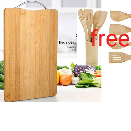 Buy Bamboo wooden chopping Board get FREE Bamboo Wooden Spoons
