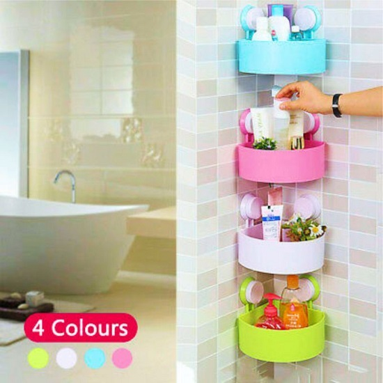 Bathroom Corner Storage Rack Organizer Shower Shelf Cup.