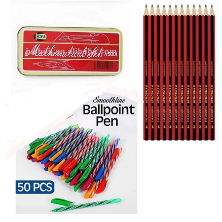 Mathematical Set, 50 Ball Point Pens and 12PCS HB Pencils