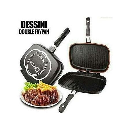 Dessini Double Pan /Meat Grill Non Stick 36cm - Black