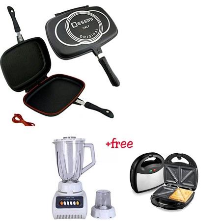 Double Dessini Grill Pan + Sandwich Maker + 2 Litres Electric Blender