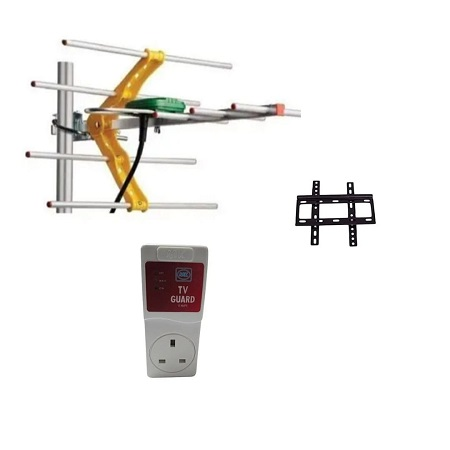 Digital Aerial + 14 Inch-42 Inch TV Wall Bracket +  Tv Guard