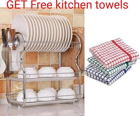 Buy  3 Tier Dish Rack - Get Free Kitchen Towels