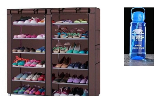 Buy Portable Generic Shoe Rack(Color May Vary from Image)and Get FREE 1.5  Litre