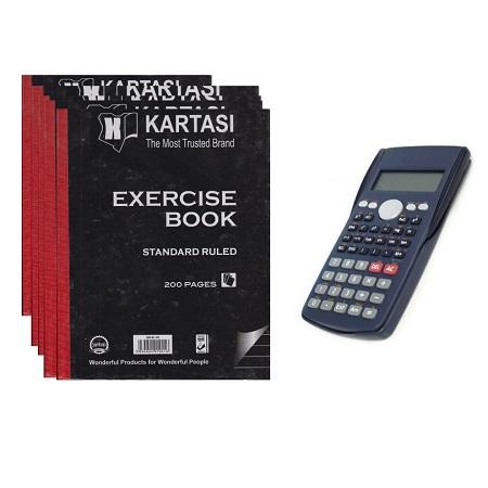 5 Hard Covered  Karatasi Books & Scientific Calculator