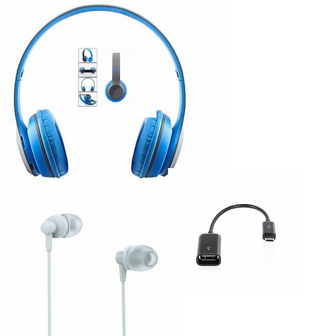 Buy Bluetooth Wireless Headset and GET FREE OTG Cable and FREE Earphones