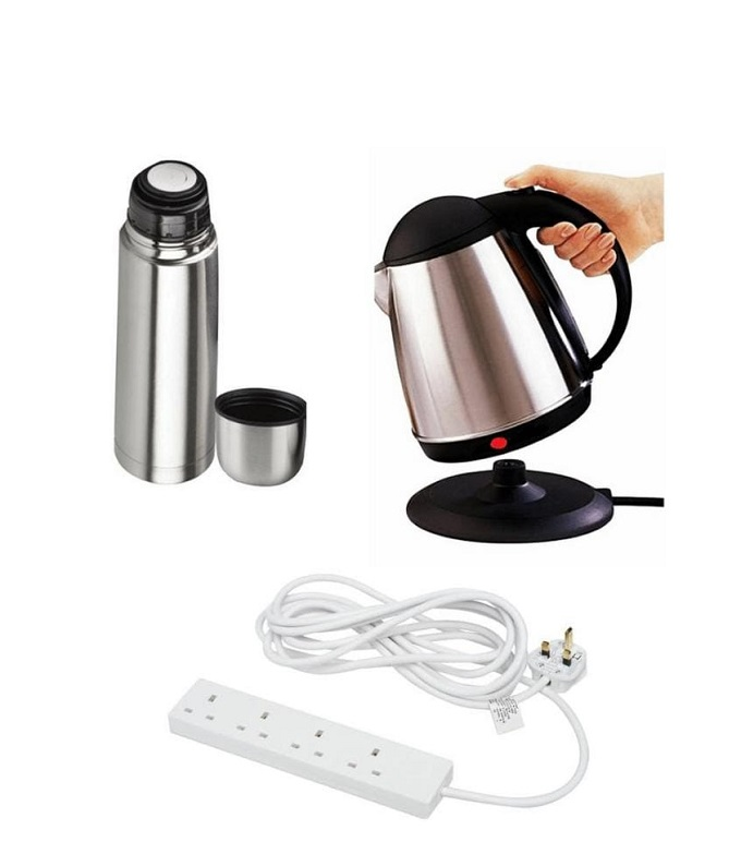 Combo Deal: Electric kettle, Vacuum Flask 500ml and 4 Way extension