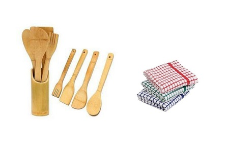 Four Wooden Kitchen Spoons + 3 Kitchen Towels