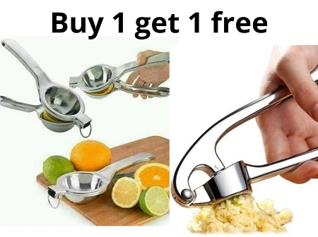 BUY One Lemon/ Lime/Orange Squeezer and Get One Garlic Crusher FREE
