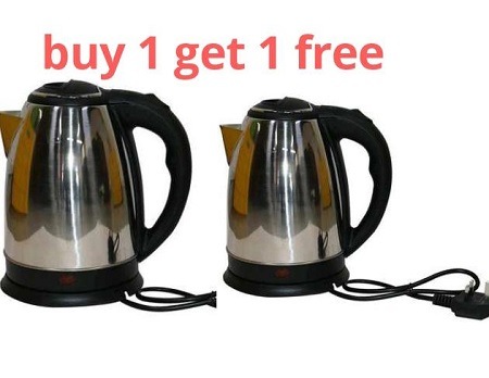 Lyons FK-0301 Silver & Black Cordless Stainless Steel Electric Kettle - 1.8L Buy One Get One Free