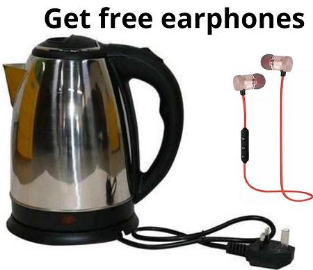 Lyons Cordless Electric Kettle 2.0 Liters Silver Get Free Earphones