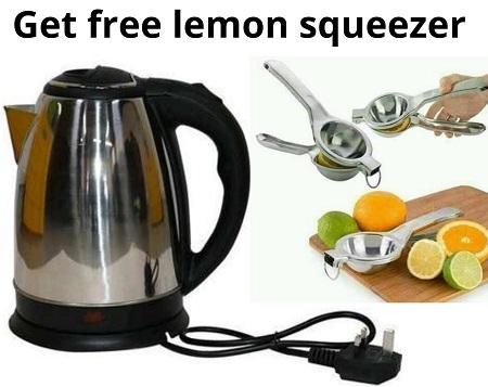 Lyons Cordless Electric Kettle 1.8 Liters - Silver Get Free Lemon Squeezer