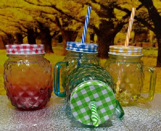 Mason Jar With Handle, Cover & Reusable Straw- 1 Pc