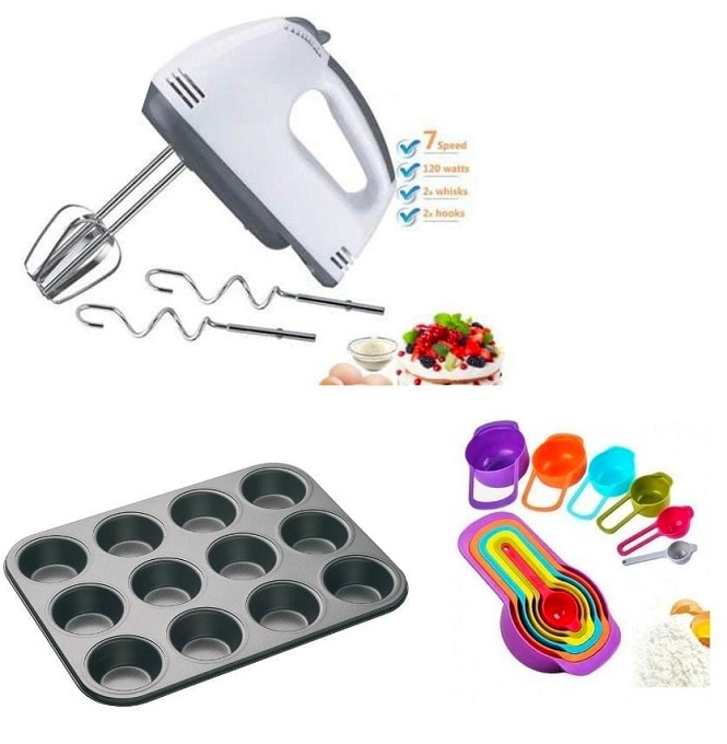 Portable Hand Mixer Plus Free Muffin Tray & Measuring Cups