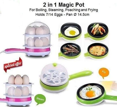 Multi-Function Mini Double Layers 14 Eggs Boiler with Electric Omelette Pan