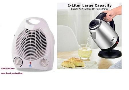 Nunix Room Heater + 2 Litres Scarlett Electric  Kettle