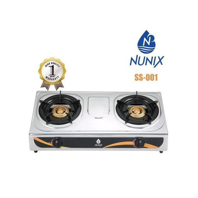 Nunix Stainless Steel 2 Burner Gas Stove