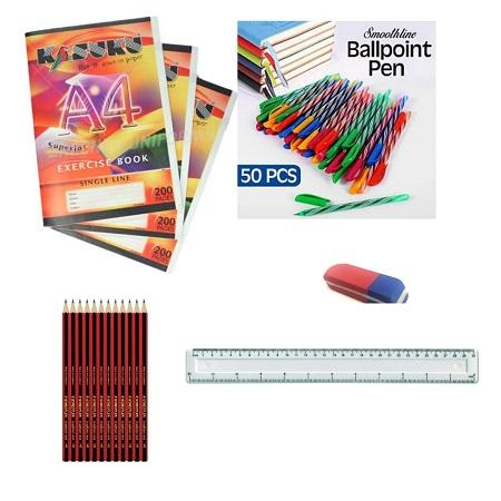 Back to School Pack-12 Pcs Exercise Books + 50 Pcs Ball Point Pens + 12 Pcs HB Pencils + One 30 cm Ruler + One School Rubber + 12 Pcs HB Pencil