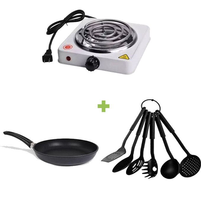 Generic Portable Electric Hot Plate + NonStick Pan + NonStick Spoons