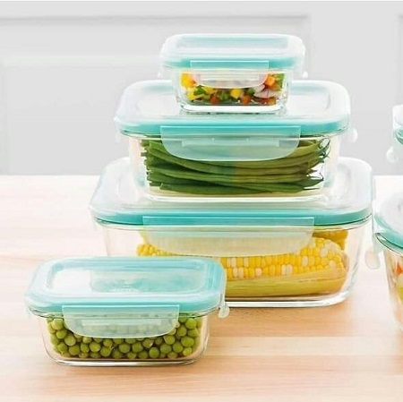 Signature Microwave Safe Glass Lunch Box Set -Clear