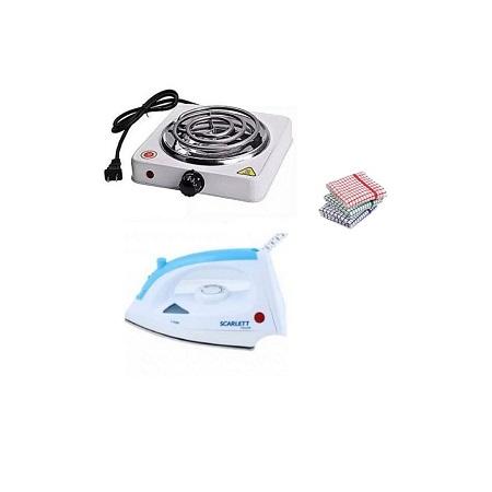 Single Electric Coil + Scarlett Iron Box + Kitchen Towels