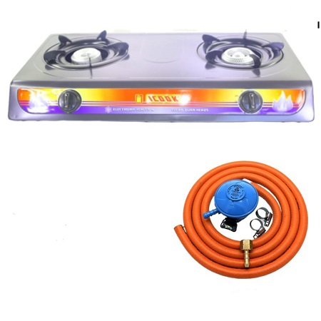 Table Top Gas Cooker Stainless Steel with Gas Pipe and Gas Regulator