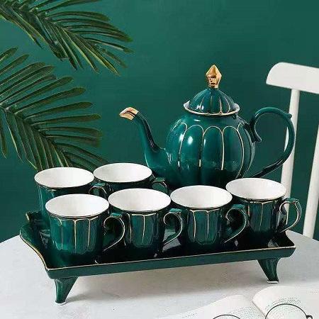Coffee/ Tea Set – 6 Cups, 1 Teapot & 1 Tray