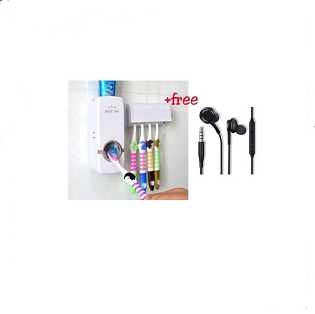 Automatic Toothpaste Dispenser and 5 Toothbrush Holder Set + FREE Earphones