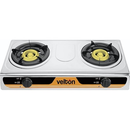 VELTON 2 Burner Gas Stove/ Gas Cooker - Stainless Steel