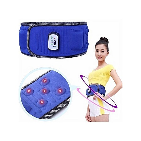 Electric Abdominal Tummy Slimming Belly Burner Lose Weight Fitness Massage Belt - Blue