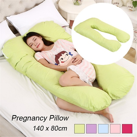 U-Shaped Cotton Maternity Pillow Cushion Pregnancy Pillow Multi-Functional -COLOR MAY VARY