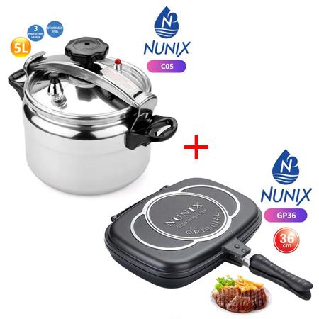 Nunix 5L Aluminium Explosive Proof Pressure Cooker + Dessini Double Grill Pan 36cm