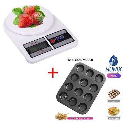 Digital Electronic Kitchen Food Diet Scale Weight Balance plus Nunix 12 Hole Baking Tray