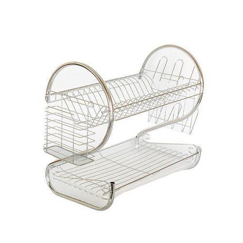 2 Tier Chrome Plated Dish Rack - Sliver