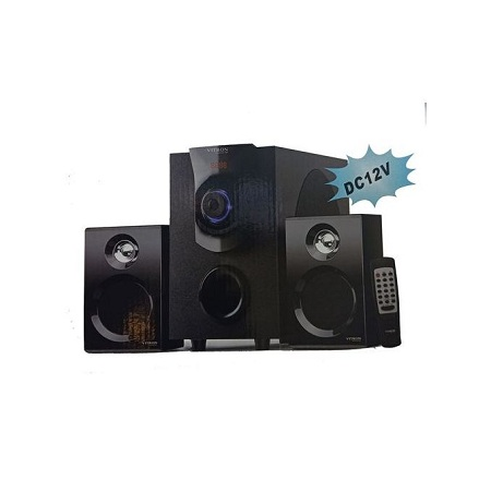 V411D MULTIMEDIA SYSTEM USB/FM/SD/MP3 - Black With 2Speakers