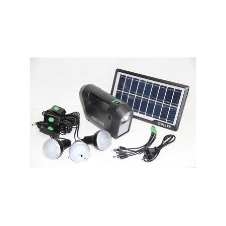 Solar Panel LED Lights 3 Bulbs And Phone Charging Kit