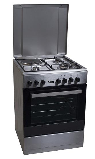 Von 7312NEI/VAC6S031UX 3 Gas + 1 Electric Cooker - Inox