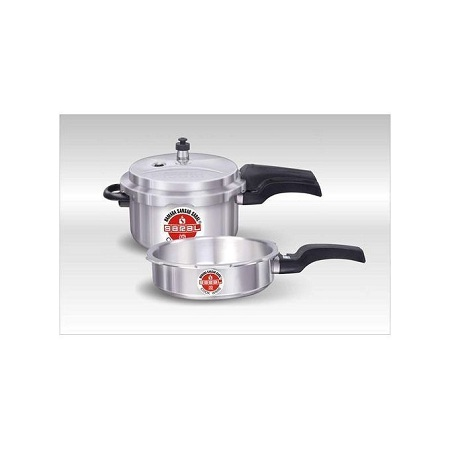 Saral Aluminum Pressure Cooker Combo Pack ( 5 plus 3 litres )