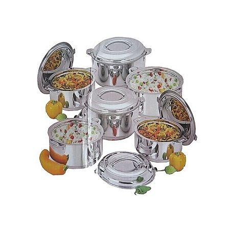 Durable Elegant 6 Piece Stainless Steel Food Server Hot Pots Set Casserole -Silver