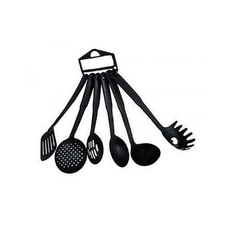 6 Piece Non- Stick Cooking and Serving Spoons- Black