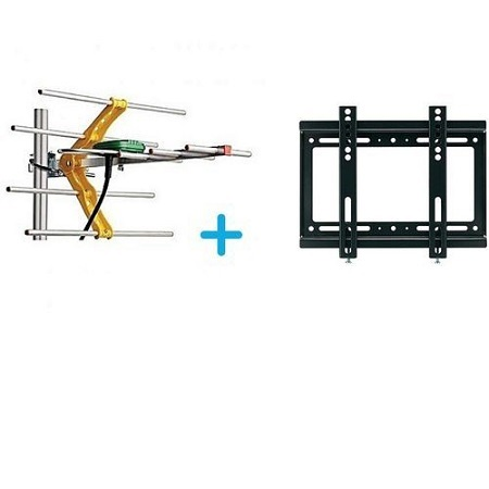 Digital TV Aerial + 10M Cable + TV Wall Mount Bracket 14 - 42 inch-  Black