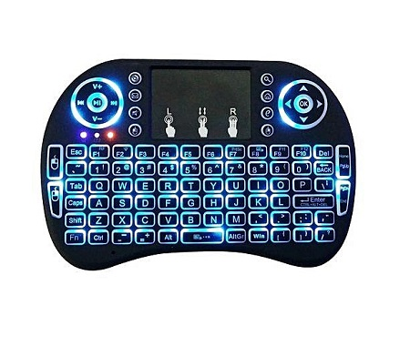 Mini 2.4GHz Mini Wireless Keyboard with Touchpad, smart tv, LED Backlit, Rechargable Li-ion Battery- Black