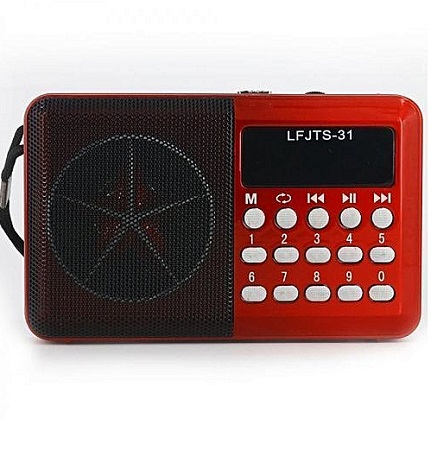 Joc Fm Radio Rechargable Digital Selects Music Player/Fm Radio with usb and memory slot - Red