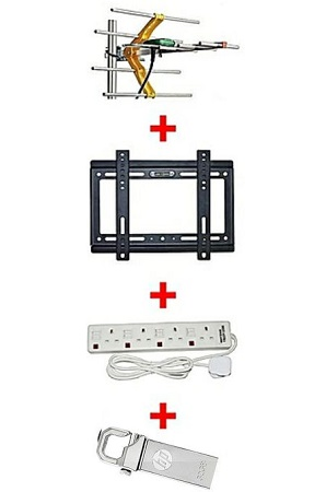 TV Aerial + 14-42inch TV wall bracket + 4 way extension socket + 32Gb flash drive