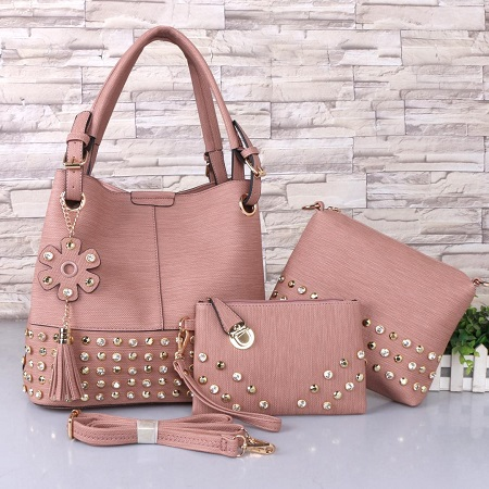 3 In 1 PU Leather Studded Handbag