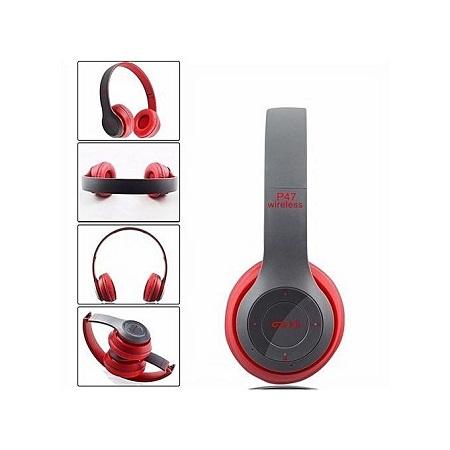 P47 Wireless Bluetooth Headphone Music Headset - Red & Black