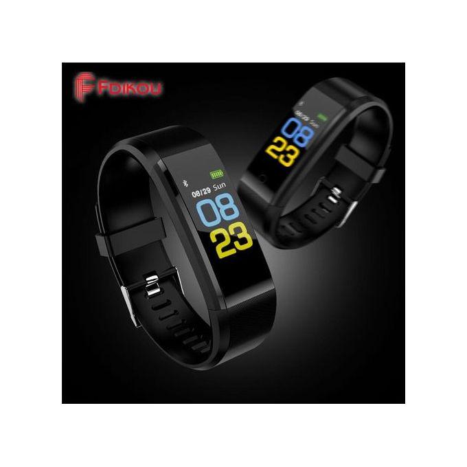 Smart Wristband Fitness Heart Rate Monitor Smart Bracelet Watch - Black